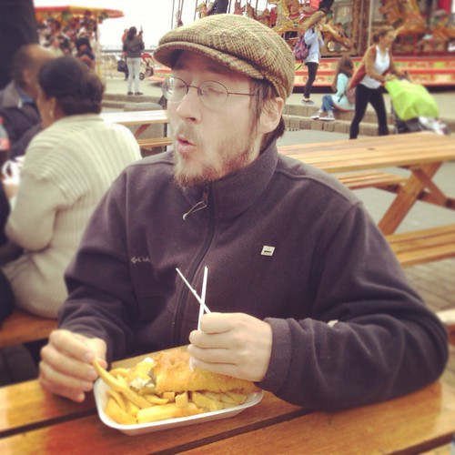e. tries his first English fish and chips | by Texarchivist