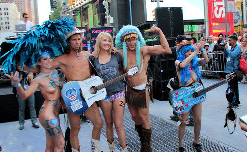 Naked times square buskers | National underwear day would