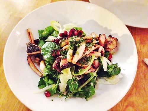 Grilled octopus & calamari, puntarella, salsa di acciughe, fennel, arugula, pomegranate   by T.Tseng
