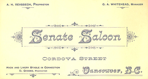 [Business card for the Senate Saloon] | by UBC Library Digitization Centre
