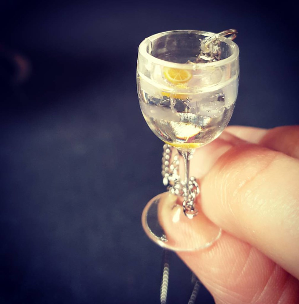 Handmade gin glass necklace