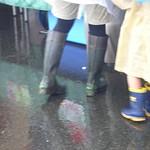 dark green and dark brown red boots