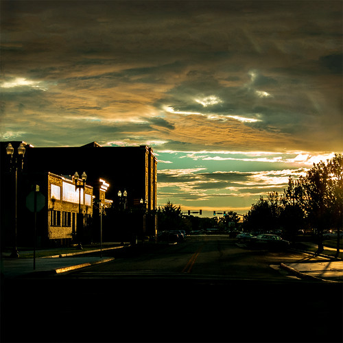 street trees sunset sky urban reflection building clouds square utah shadows greenlight ogden canons100 5143