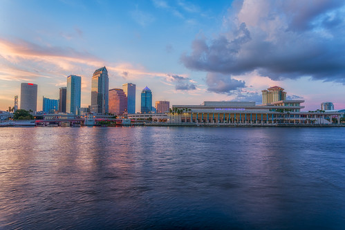 sunset reflection skyline clouds tampa effects other florida beercan processing nik hdr hillsboroughriver tampaconventioncenter photomatix sykesbuilding plattstreetbridge rivergatebuilding