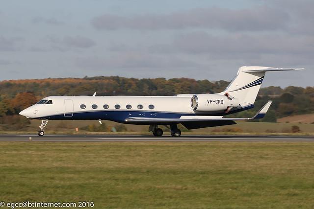 VP-CRO - 2010 build Gulfstream G550, arriving on Runway 26 at Luton