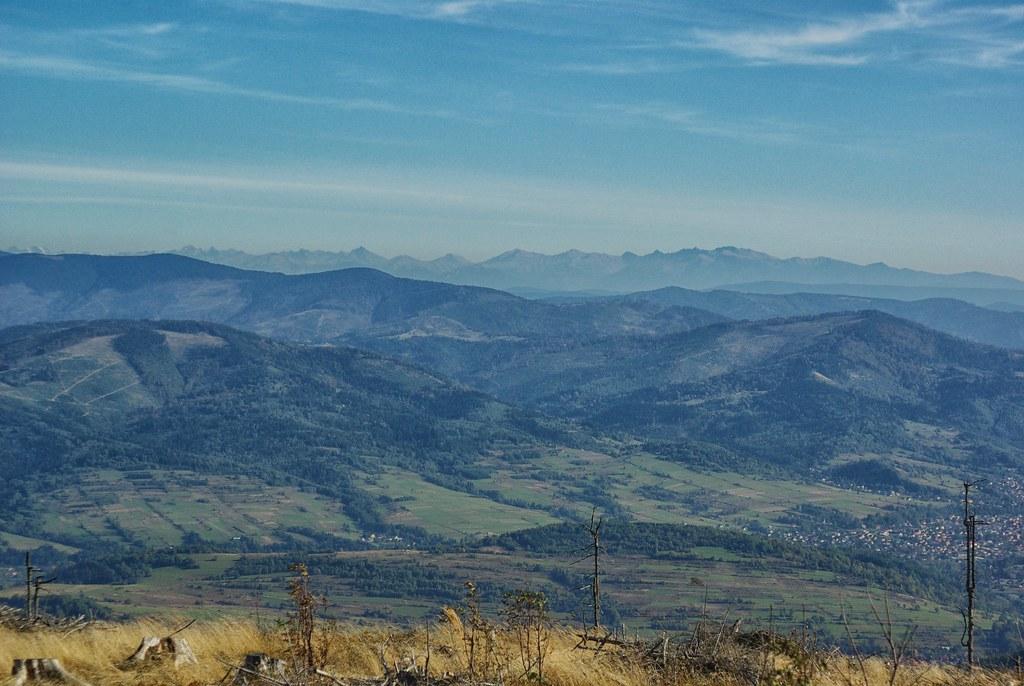 Widok z Baraniej Góry na południowy wschód