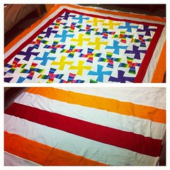 Finally made a back for the boy hobbit's quilt. Batting in place, pinned, and ready for quilting... #sewandsew