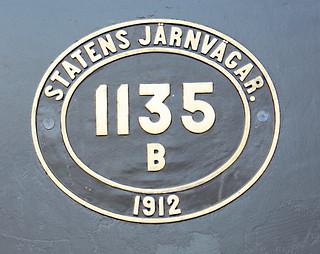 Swedish Railways Locomotive nr 1135  Numberplate