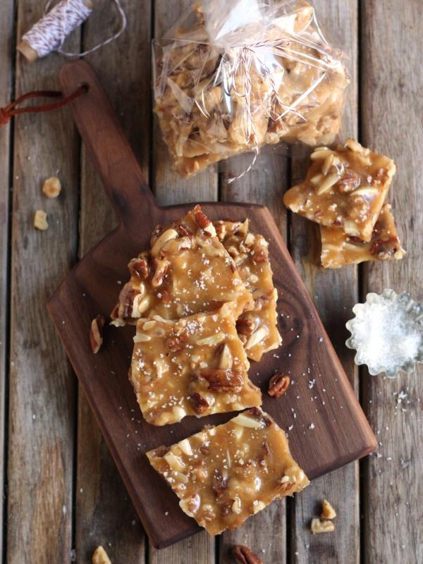 Salted Caramel Nut Brittle | completelydelicious.com