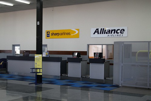 Check in counters for Sharp Airlines and Alliance Airlines