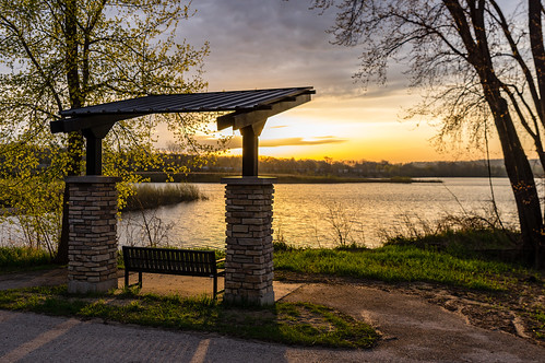 grass pentax2470f28edsdm sunrise 3652017 peaceful bench water 365the2017edition iowa lake pentaxk3ii clouds trees tpe pentax 105365 photographersephemeris cy365 15apr17 cedarriver day105365 park unitedstates cedarrapids morning prairiecreekfishery