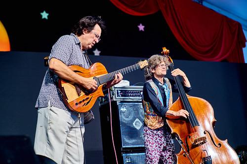 Steve Masakowski and James Singleton of Astral Project on April 28 2017 Day 1 of Jazz Fest. Photo by Eli Mergel