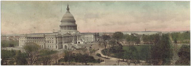 One Half of circa 1912 Hand-Colored Panoramic Photo of Capitol Hill, Washington, DC