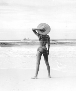 Melody May modeling a bikini on the beach: Panama City, Florida | by State Library and Archives of Florida