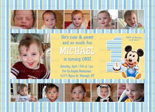 Baby Mickey Collage 1st Birthday Invitations Baby Mickey M Flickr
