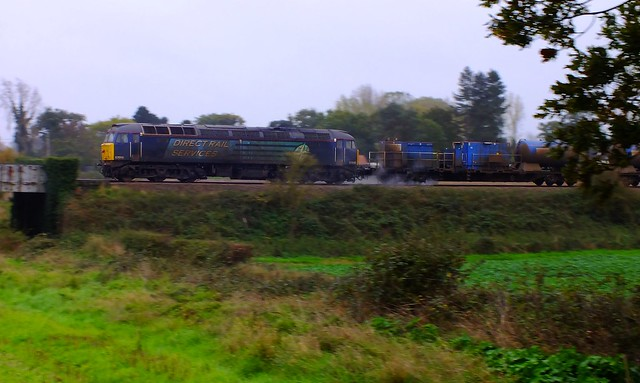 57010 trailing on East Suffolk RHTT return working towards Ipswich, at Campse Ashe. 13.16, 11 11 2013