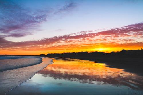 goose rocks beach maine sky sun sunset light water reflection blue orange yellow silhouette ocean texture sea coast clouds nature travel scenic landscape