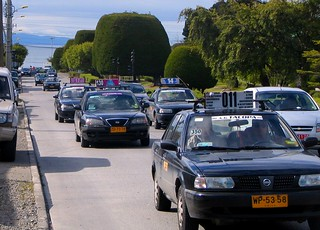 Instead of buses these taxi colectivos serve the 100'000 inhabitant city of Punta Arenas
