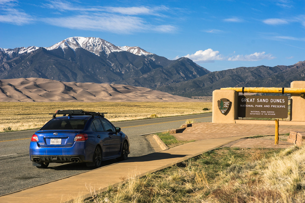 Great Sand Dunes National Park | The park's sign and my WRX