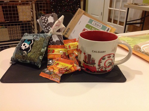 I am so lucky!  This pincushion is so cute and I ❤️ my new mug!  Sweet swap package - thank you kcalgary!