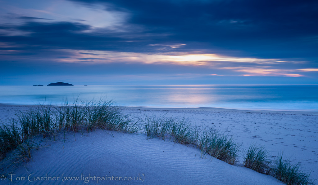Dunes and grasses at Sandwood Bay, dusk