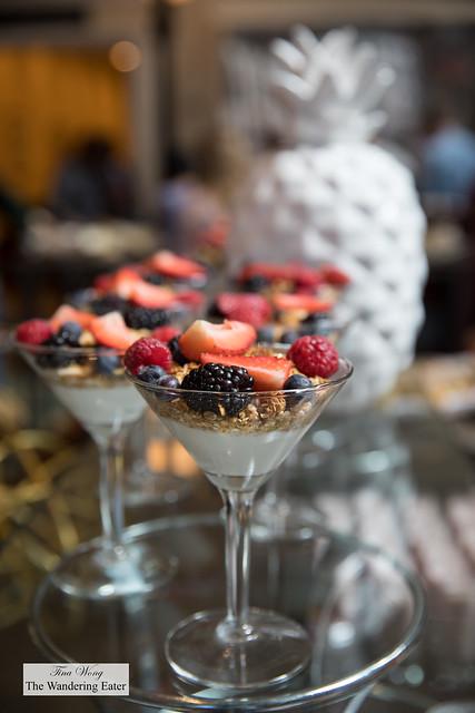 Mixed berries, granola yogurt parfaits