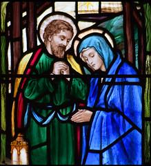 Joseph and Mary at the Nativity (Mary Lowndes, 1916)