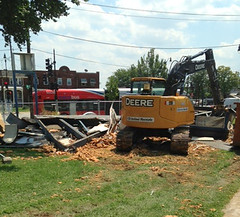 Demolition of old library kiosk at CBTC site