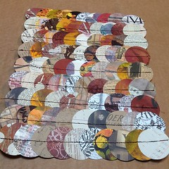 """Another 9 x 12 piece with 90 - 2"""" circles using neutral colors this time.  #sewnclass"""