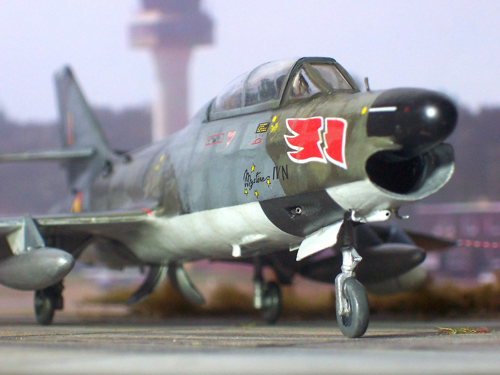 172 AMD Mystère IVN; aircraft AY 16 of N° 350 Smaldeel/1st All Weather Fighter Wing, Force Aérienne Belge/Belgische Luchtmacht/Belgian Air Force; Beauchevain, 1963 Whif/Matchbox kit conversion