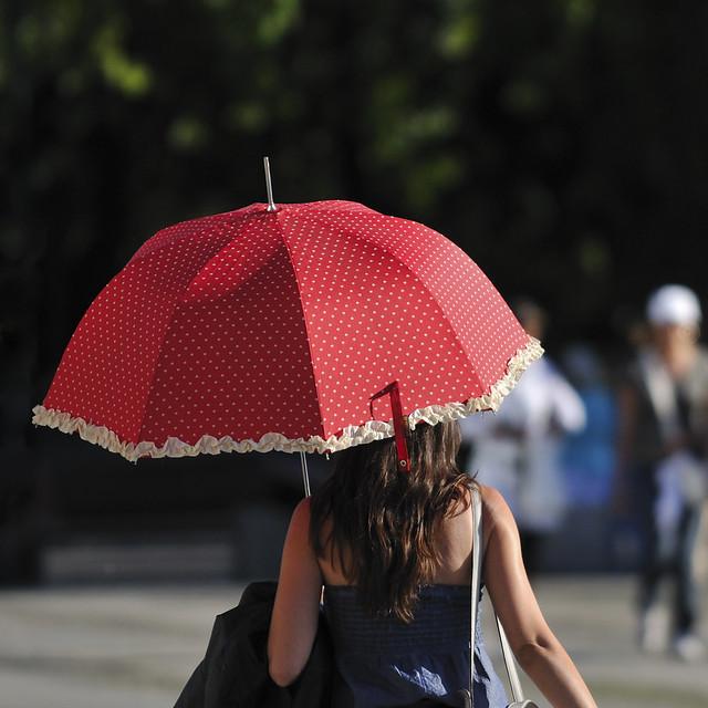 red umbrella in the sun