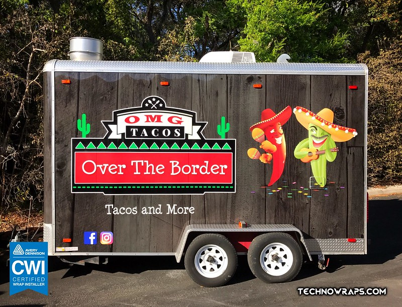 Food trailer wrap wrapped in custom vinyl design in Orlando
