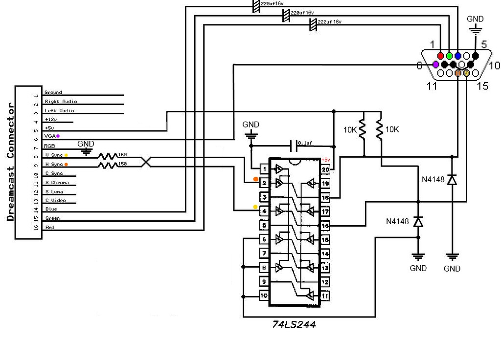 dreamcast switchless vga mod schematics   by macprob