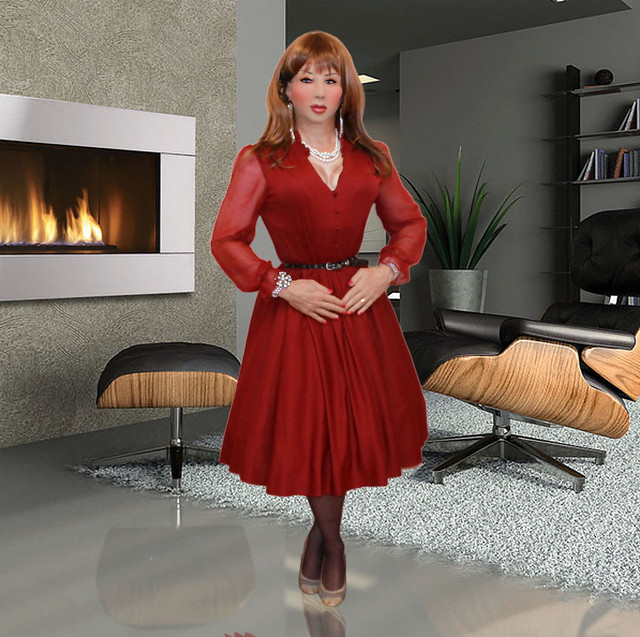 Dolly Diamond red silk dress - a photo on Flickriver