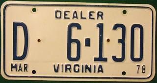 VIRGINIA 1978 ---DEALER PLATE #D 6-130---THE PLATE