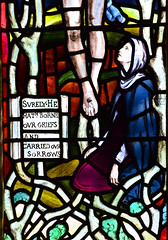 Mary Magdalene at the foot of the cross (Mary Lowndes, 1895)
