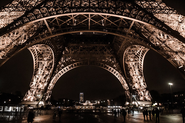 Eiffel Tower close up view, Paris, 2017