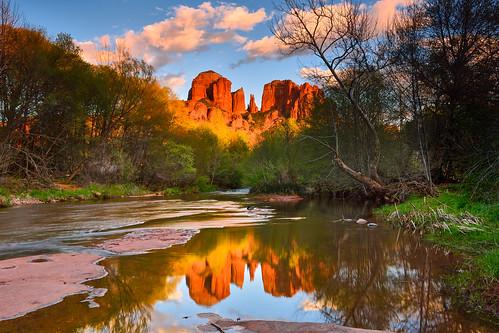 cathedralrock oakcreek sedona southwest arizona landscape reflection redrocks coconino sky water serene trees color light nikon