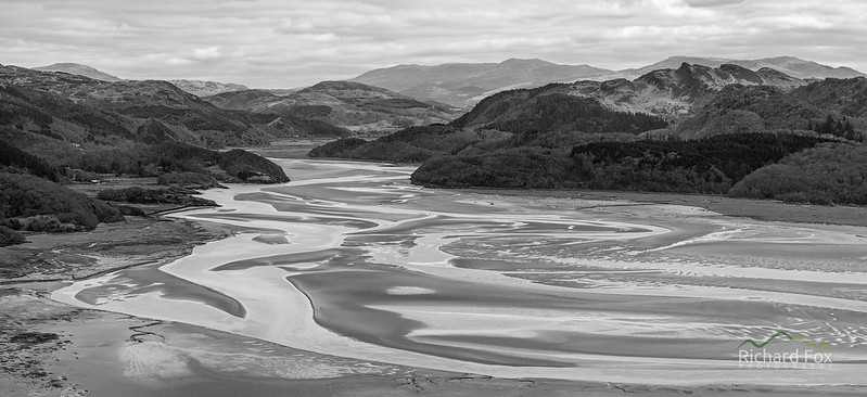 Afon Mawddach Panorama in Monochrome