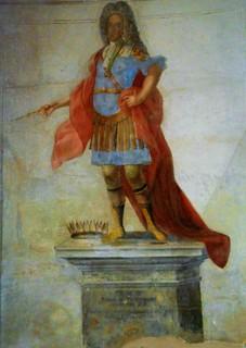 James Francis Edward Stuart (London 1688-Rome 1766) pretender at England's Kingdom as James III - fresco at monastery of Santa Scolastica - Subiaco (Rome)