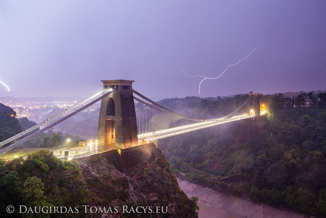 Lightning strikes Bristol, Clifton Suspension Bridge, Bristol, UK, 23/08/2013
