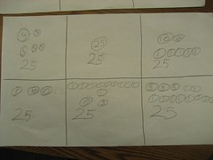 Is there any evidence that this student made exchanges when he or she finds multiple ways to show 50¢? (April 2011, Gr 1-2)