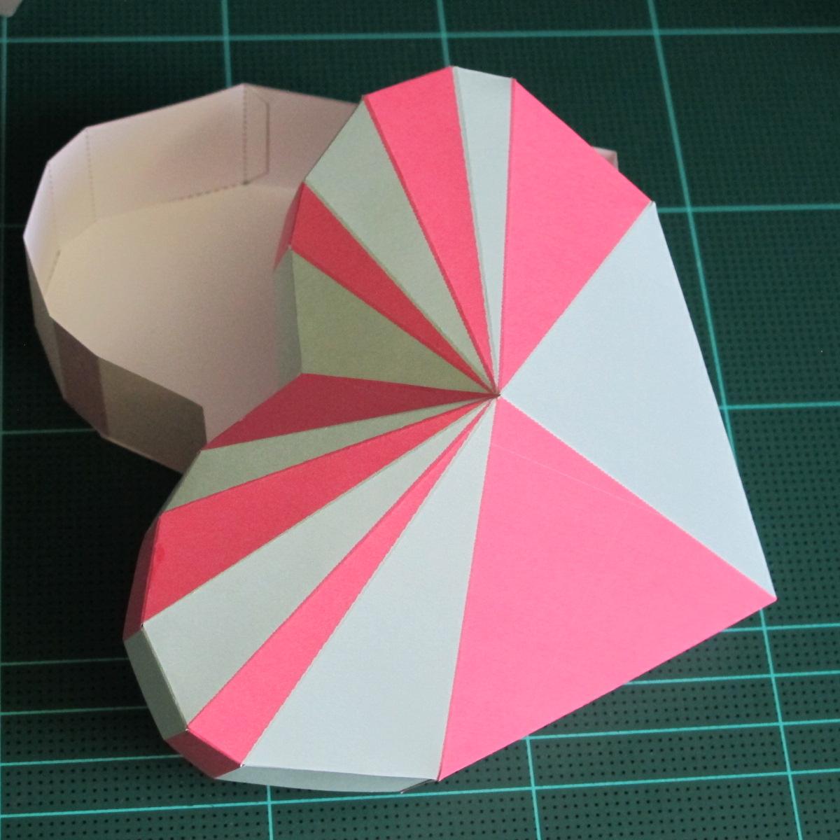 วิธีทำโมเดลกระดาษเป็นกล่องของขวัญรูปหัวใจ (Heart Box Papercraft Model) 017