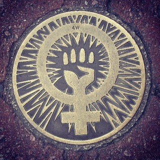 Pavement 'jewellery' #cowleyroad #feminist #hellyeah | by eam31
