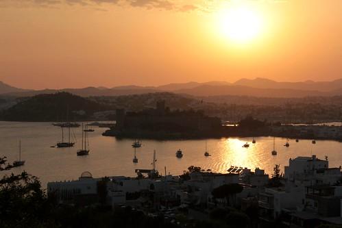 sunset sea castle turkey boats bay reflex spring sundown ships fortress bodrum crusaders mediterraneam picmonkey:app=editor türkjye mediterrareum