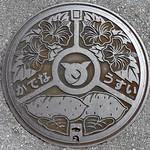 Kadena Okinawa , manhole cover 2 (沖縄県嘉手納町のマンホール2) ハイビスカスと紅イモ