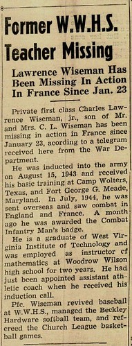 Lawrence Wiseman Newspaper Article | by ghs1922