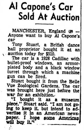 noticia de venta del coche de Al Capone en 1958