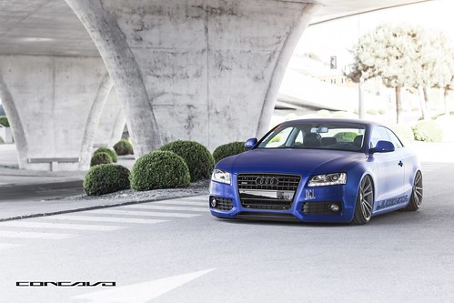 Audi A5 on 20x10.5 CW-S5 Wrapped Matte Brushed Blue bagged on Custom Matte Graphite CW-S5 | by Concavo Wheels