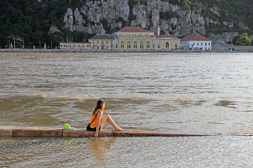 Budapest flood 2013 - girl alone on the edge of the water 2